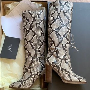 J crew snakeskin leather knee high boots like new